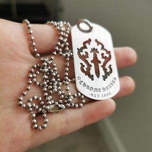 Silver925 Dagger/Cross Tag with Ball Chain